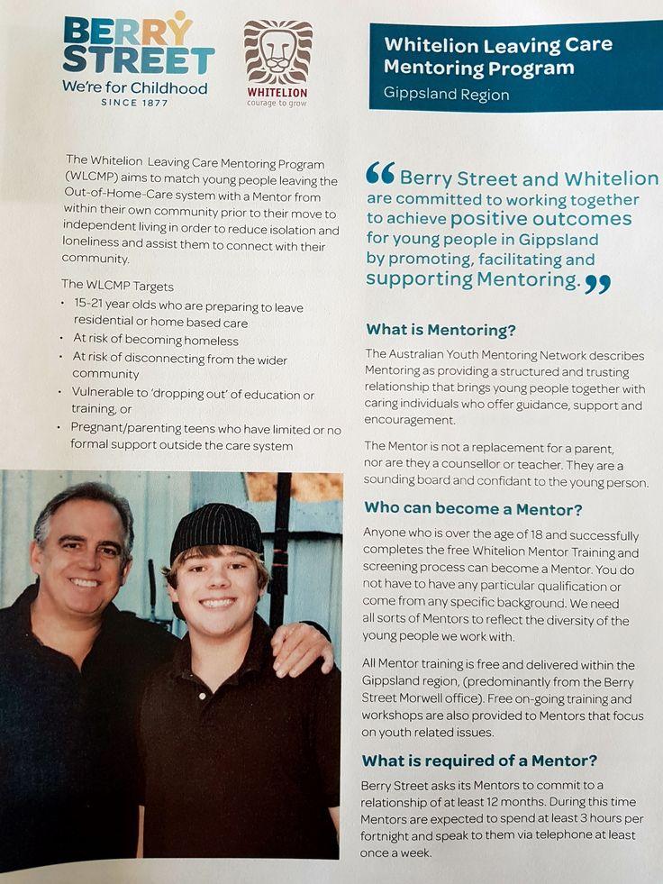 The Whitelion Leaving Care Mentoring Program - http://www.morwellnh.org.au/the-whitelion-leaving-care-mentoring-program/