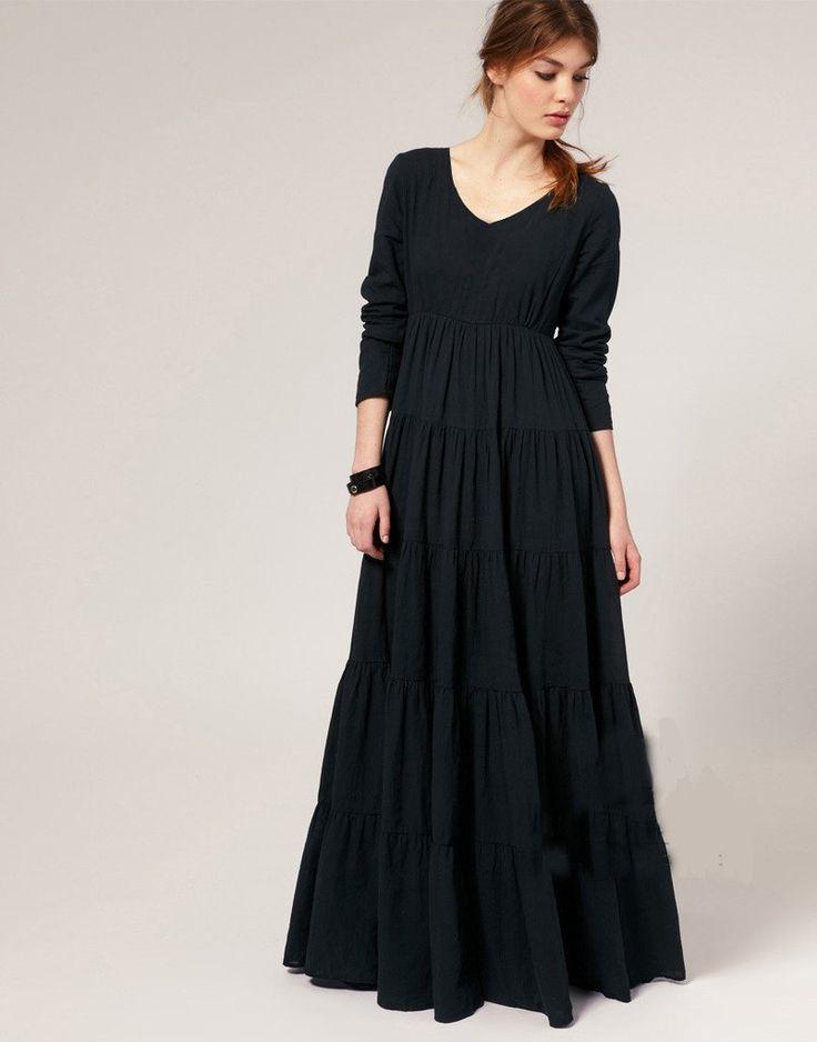 Plus Size Vintage Gothic O-neck Ankle-length A-line Maxi Dress