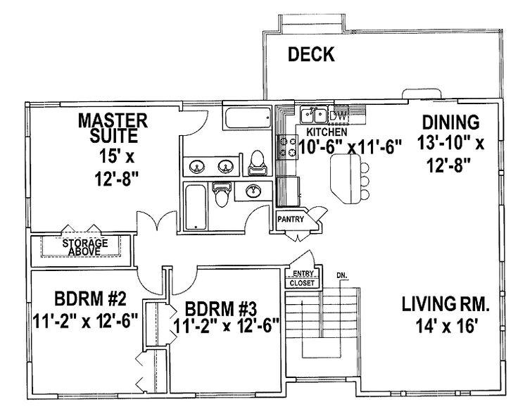 split level house plans | Three Bedroom Split Level (HWBDO67425) | Split Level House Plan from ...