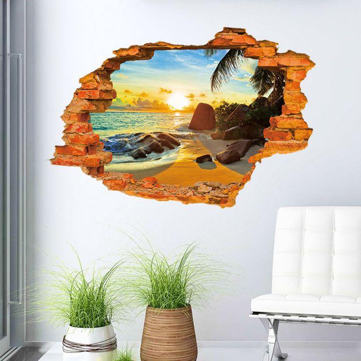 Sunset at the Beach https://walldecordeals.com/creative-3d-sticker-wall-sticker-6090cm-paster-art-home-decor-livingroom-bedroom-background-stickers/