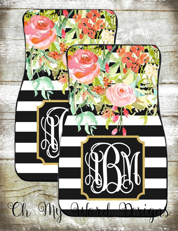 // pinterest: maggieliz070400 // Monogram Car Mats-Car Accessories-Car Mats-Personalized Car Mats-Monograms-Stripe Car Mats-Watercolor Flowers