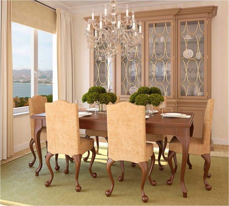Dining Room Cool Set Design With Wooden Chairs Table Chandelier Cabinet Storage For Diningware And Barware Carpet Curtain Natural View Sea