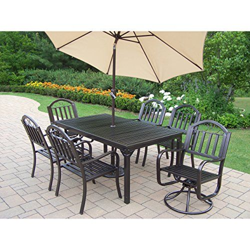 48ec53709fb5 Oakland Living Corporation Hometown Iron 9-piece Dining Set with Beige  Umbrella and Stand     Nice of you to have dropped by to view our image.