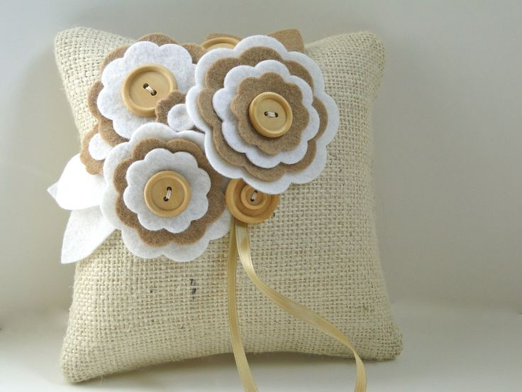 Ring Pillow Rustic Burlap felt flowers beige white wood. $34.00, via Etsy.