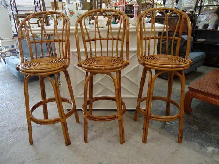 set of 3 rattan bar stools