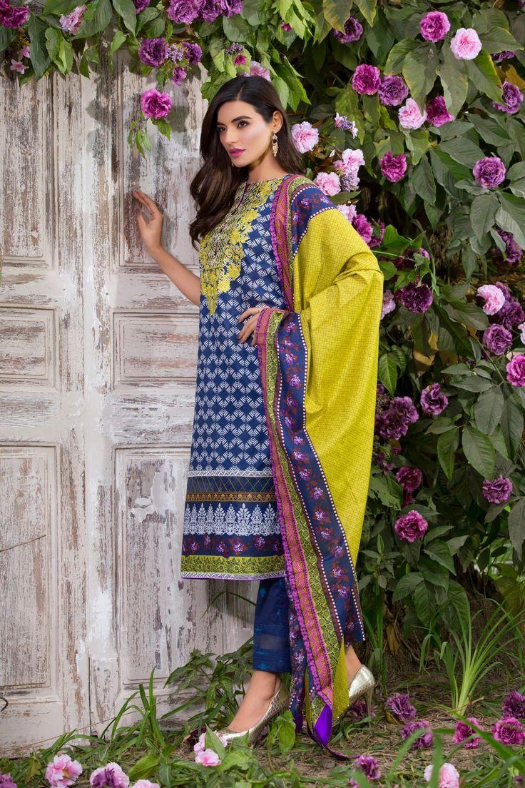 Alkaram lawn suit Front-Back-Bazu-Dupatta Broshia Dupatta Code: SS-112-Blue Whatsapp for order 03217399910