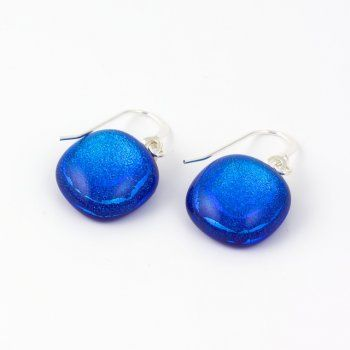 small square royal blue drop earrings - Jola Glass [Chipping Campden]