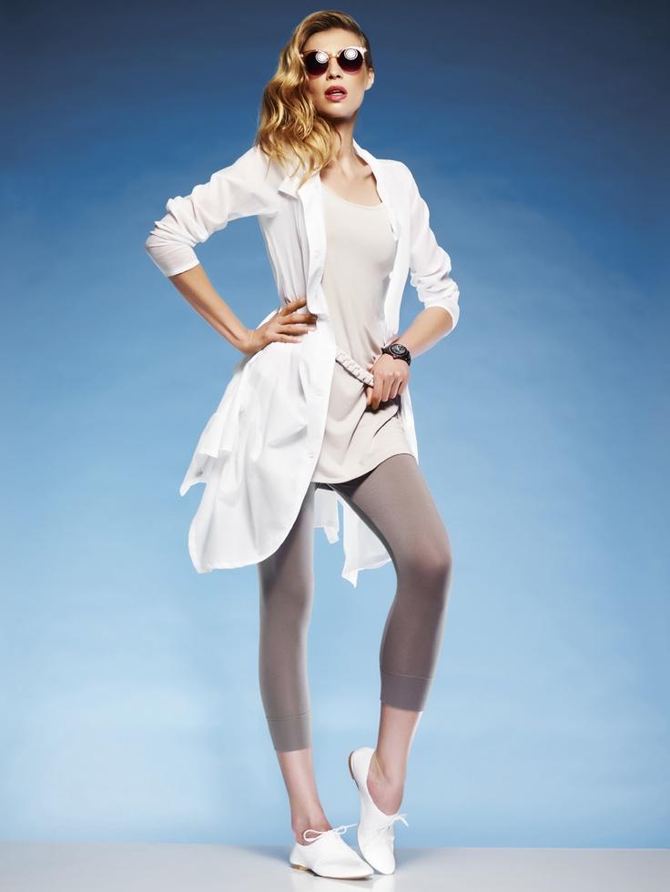 Paula Ryan Tucked shirt, Cami tunic, Capri legging and Braided belt