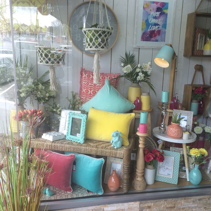 Our gelati window display at Lavish Abode Home decor, interior decor store. Visual merchandising. Bright pastel colours combined for a gorgeous spring summer look.