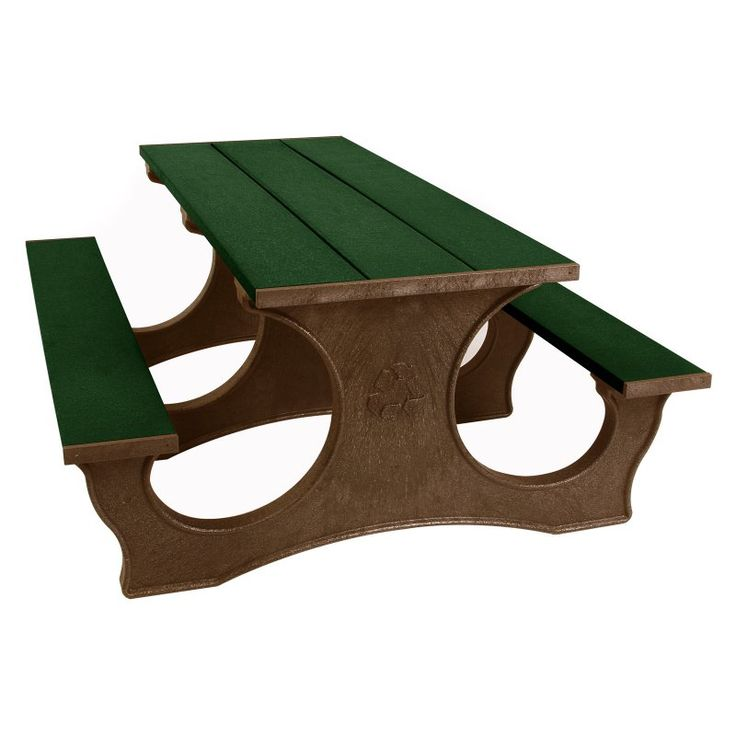 Outdoor Polly Products Tuff Easy Access Recycled Plastic Picnic Table Black Frame Green Top - ASM-PTEA8-BLK-GRN