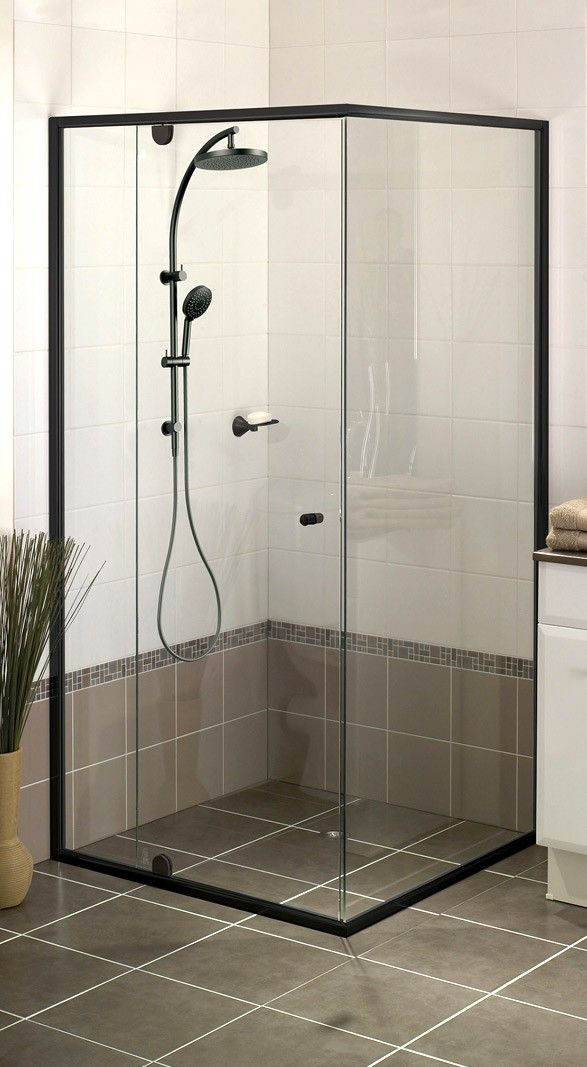 Windsor 6mm Black Semi Frameless Shower Screen Shower Screen Semi Frameless Shower Screens Small Bathroom Decor
