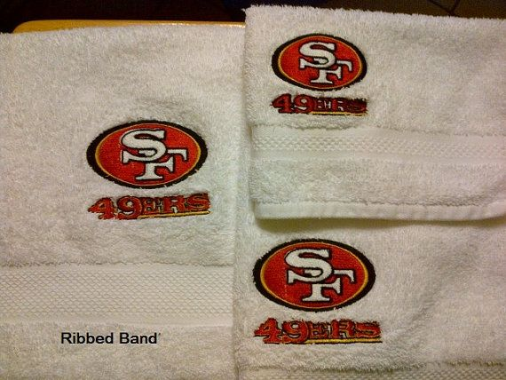 San Francisco 49ers Embroidered 3 Piece White Towel Set