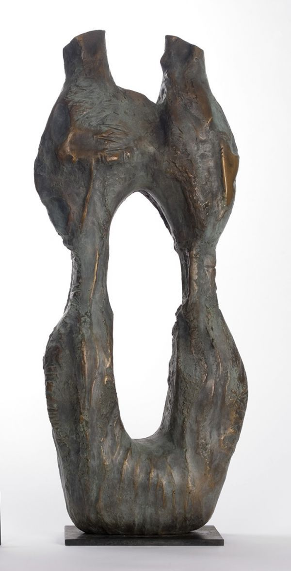 #Bronze #sculpture by #sculptor Marianne Weil titled: 'Los Millares (Bronze figurative abstract Art statue)'. #MarianneWeil