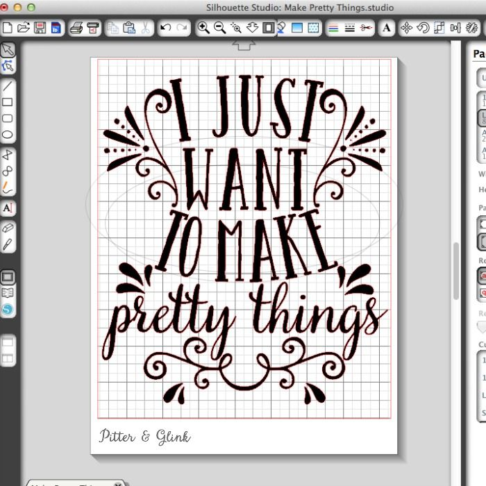"""I Just Want to Make Pretty Things"" Free Silhouette Cut File from pitterandglink.com"