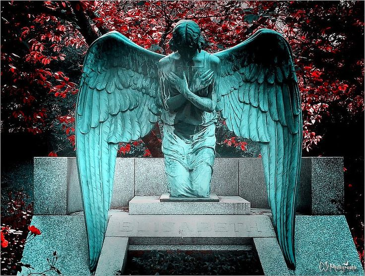 """The marble angel by the grave of Princess Elisabeth """"Ella"""" (Elisabeth Marie Alice Viktoria) (11 Mar 1895-16 Nov 1903) Hesse by unknown photographer.  The guardian angel was made by sculptor Ludwig Habich & put in the garden near her grave at the Rosenhöhe, Darmstadt Mausoleum for the Grand Ducal House of Hesse. Ella was 1st child of Grand Duke Ernest Louis V """"Ernie"""" (1868-1937) Hesse & Princess Victoria Melita """"Ducky"""" (1876-1936) UK."""
