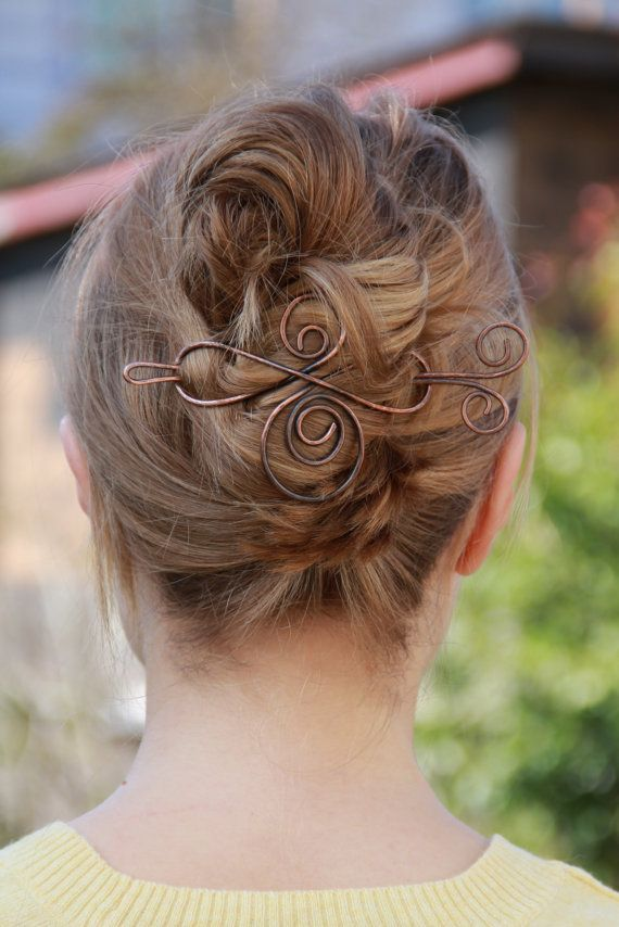 This hair barrette is very strong and will hold your hair in place for hours. I hand-made it from solid copper and hammered it for extra str...