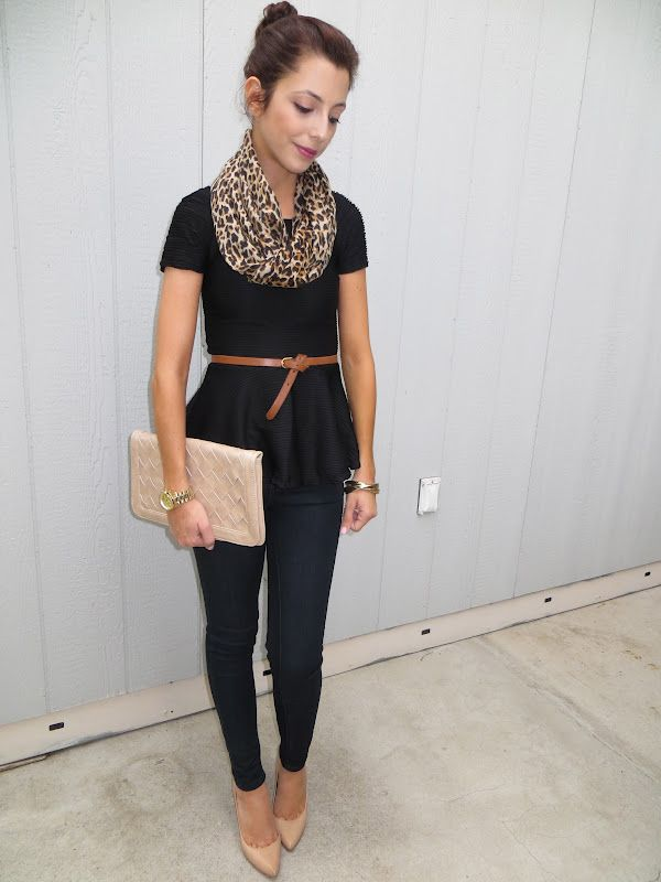 Coast With Me - black peplum top, leopard scarf