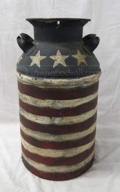shopgoodwill.com: Patriotic Painted Vintage Milk Can 40 Qt