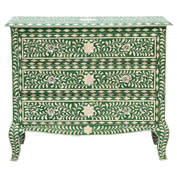 Beautiful green & ivory chest.