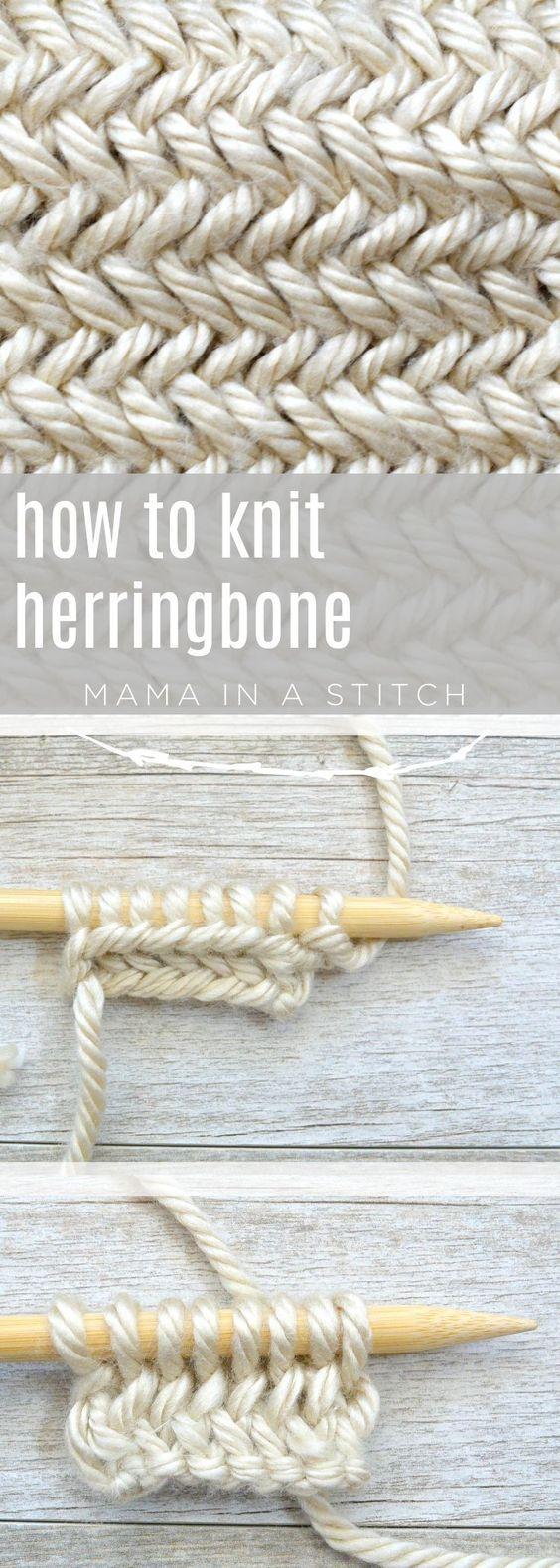 Wie man die horizontale Fischgrätenmasche strickt
