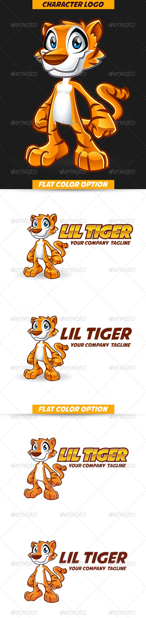 Cartoon Tiger Mascot - Character Logo   #GraphicRiver         awesome and clean Tiger logo mascot template for your playful and powerful company  	 NOTE : you can only use the stylized logotype on AI format but you can open all file with Illustrator 10 Version, CS Version or higher  	 flat color provided for easy printing  	 font link inside the readme file     Created: 28September13 GraphicsFilesIncluded: VectorEPS #AIIllustrator Layered: Yes