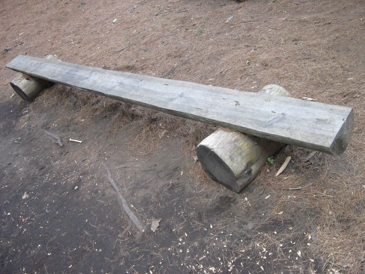Wooden Bench Made From Tree Trunks Great For Sitting Round A Camp Fire Garden Furniture