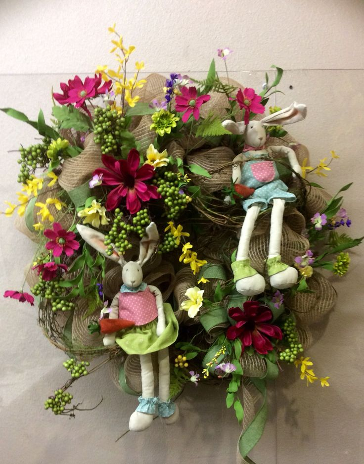 Easter Wreaths For Front Door Bunnies Rabbit