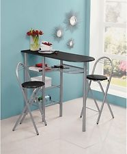Black Breakfast Table 2 Chairs Kitchen Space Saver New Vine Rack Bar Shelves