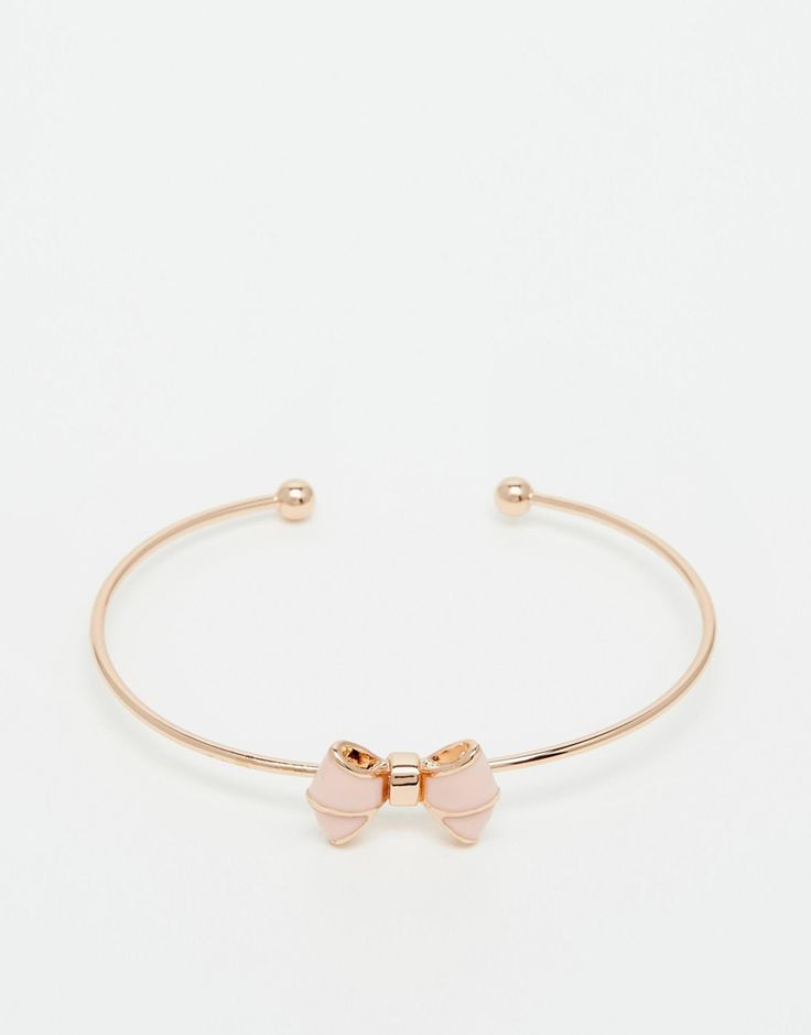 Image 1 ofTed Baker Edene Enamel Bow Ultra Fine Cuff Bracelet