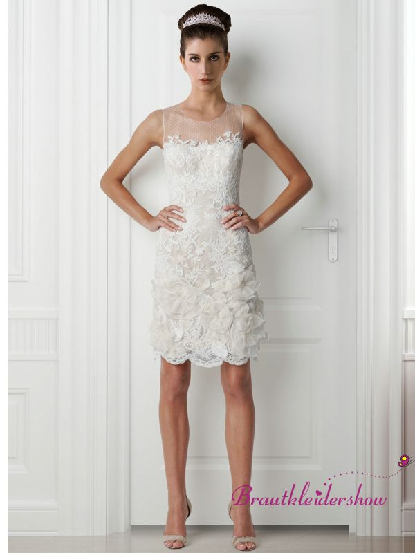 Rund Ausschnitt Tüll Kurz Standesamt Brautkleid mit Spitze GWRW117 €300.80