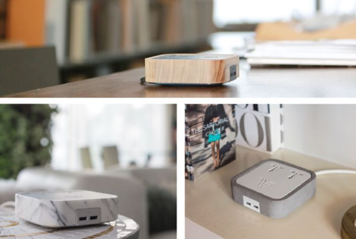 Woodie All-in-one Charging Hub Created From Concrete, Wood And Marble (video)