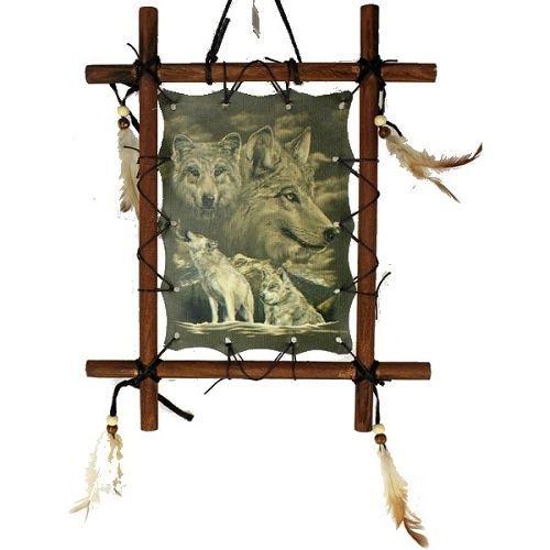 Spirit Of The Wolves Dream Catcher Wooden Frame Print On