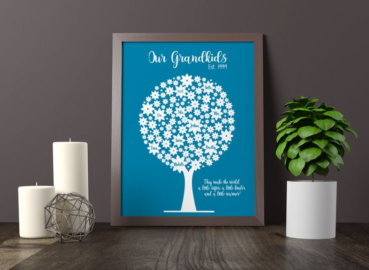 Personalized Family Tree - Gift for Parents - Custom Family Tree - Christmas Gift for Mom - Gift for Grandma - Family Christmas Gift - Print by DigitalArtDesignsByB on Etsy