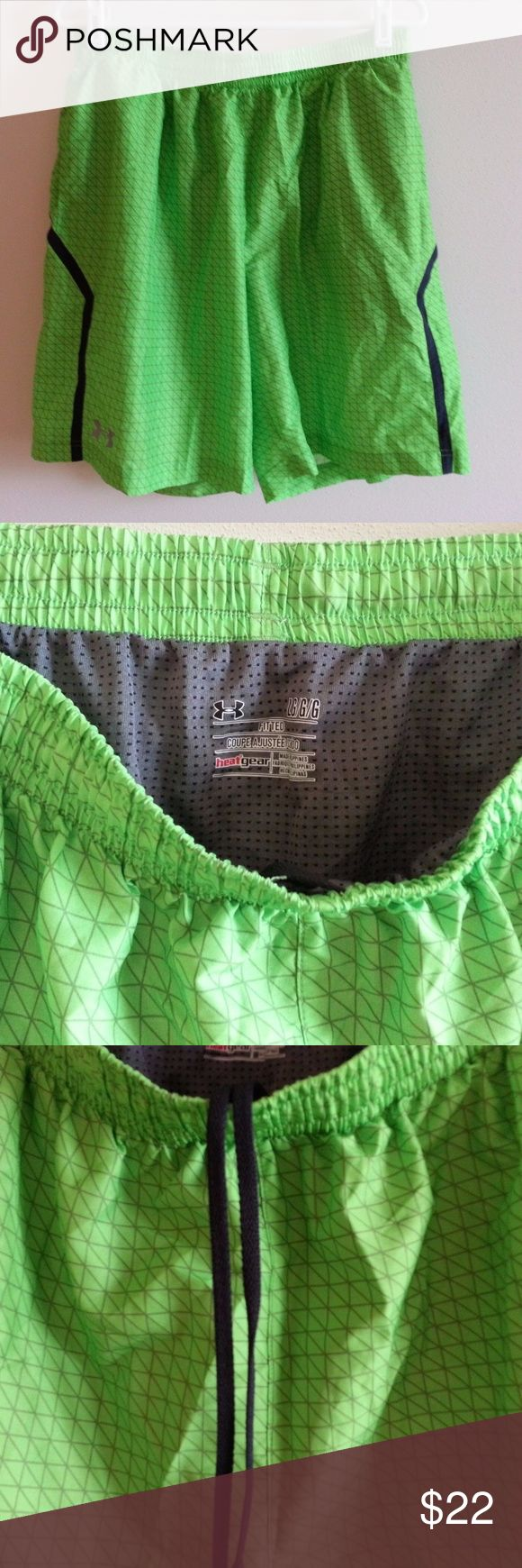 """Under Armour Fitted lime green shorts - mens large Under Armour Heat Gear Fitted lime green shorts with brown design - mens large - unstretched elastic waist = 31"""" Under Armour Shorts"""