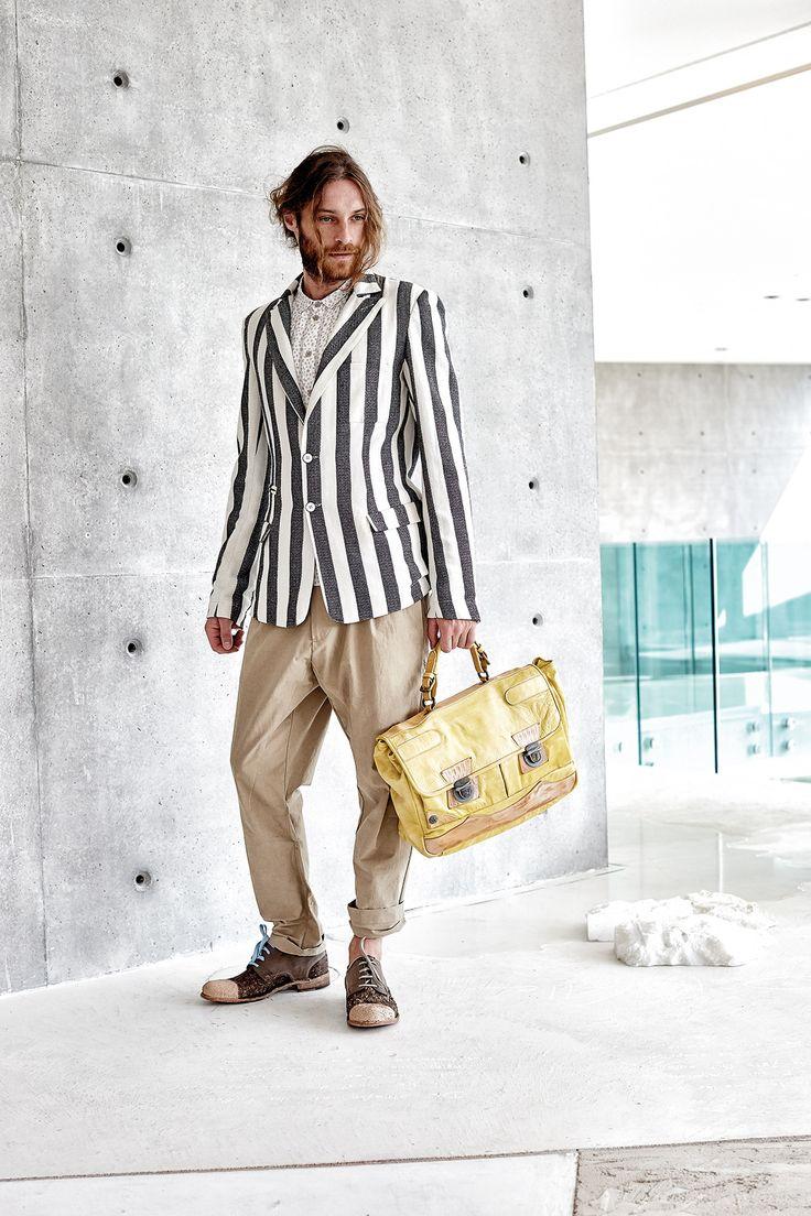 #danieladallavalle #mancollection #riccardocavaletti #ss16 #jacket #stripes #blackandwhite #shirt #beige #pants #brown #shoes #blue #laces #handbag #yellow #leather
