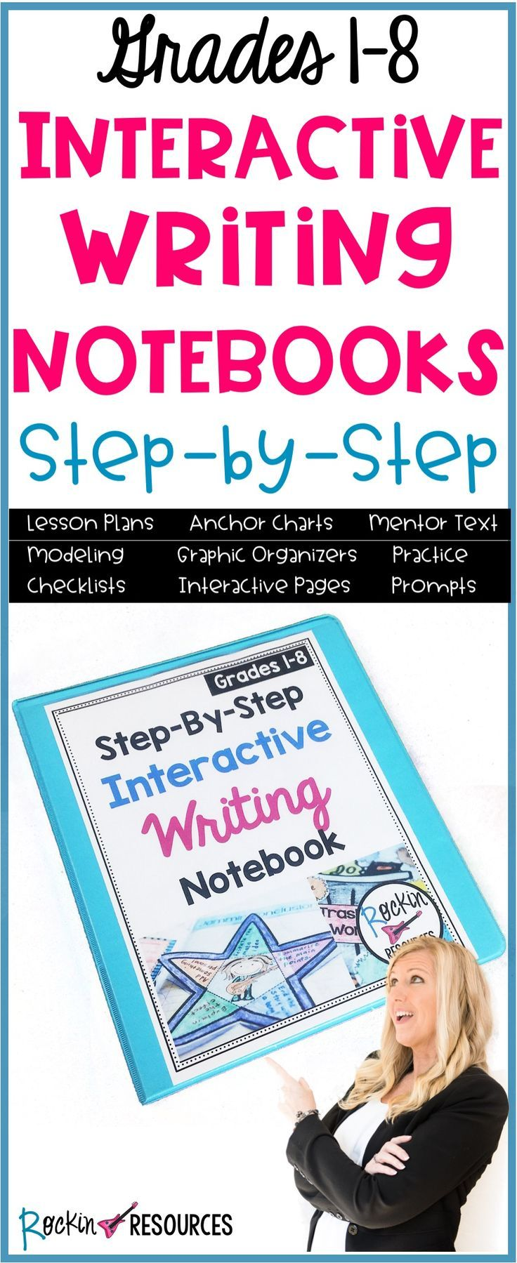 This writing curriculum will guide you through a year of writing lessons on paragraph writing, narrative writing, opinion writing, and informative writing. It is a COMPLETE writing workshop with step-by-step mini lessons which build upon each other. This gives students a thorough understanding of how to effectively use the writing process. Mentor text, modeling and interactive notebooks are key components to the success of this program. Students are engaged and excited to write!