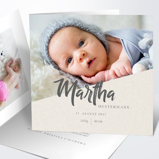 Earthlings Square Folded Card 145×145 Creme   – HELLO BABY