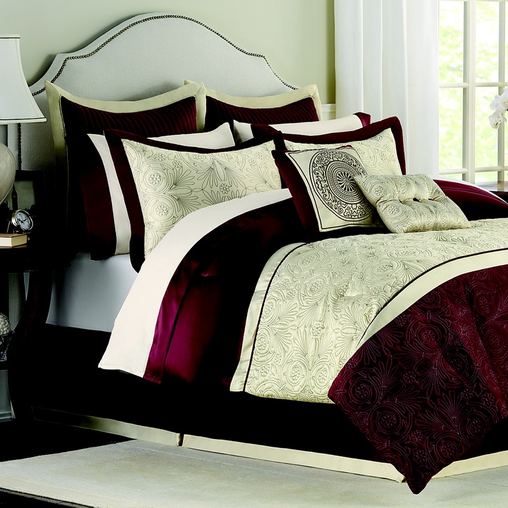 Love how the rich burgundy mixes with the deep beige on smooth embossed fabric. Trevi #Bedding Superset $149.99 for the Queen 12 piece set.