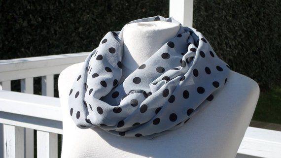 adab8aa4f7e3 Snood écharpe tube tour du cou foulard pour femme en crêpe gris pois ...