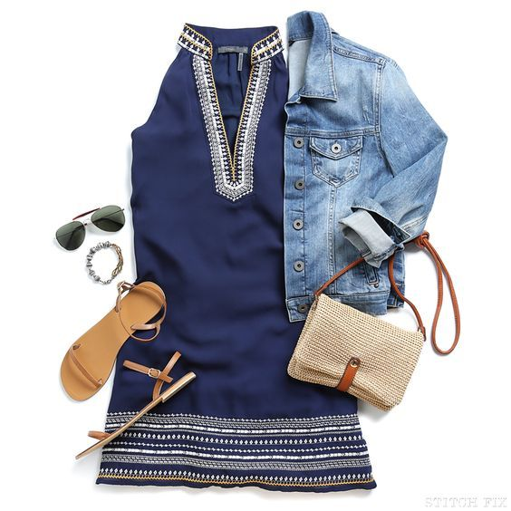 Adorable blue dress with cute embroidered detail. Can be worn with denim jacket and cute flat sandals. Want!Try Stitch fix!!! Spring and Summer 2017 outfits. Sign up now and ask your stylist for these pieces. Click on the picture to get started...You can use these pins on your board to help your stylist better understand your personal sense of style. #StitchFix #Sponsored