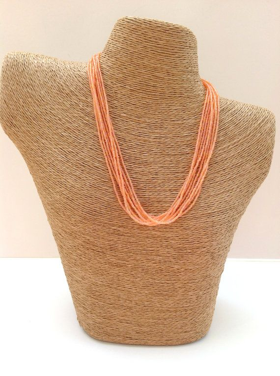 Peach necklace peachy necklace seed bead by StephanieMartinCo, $15.00