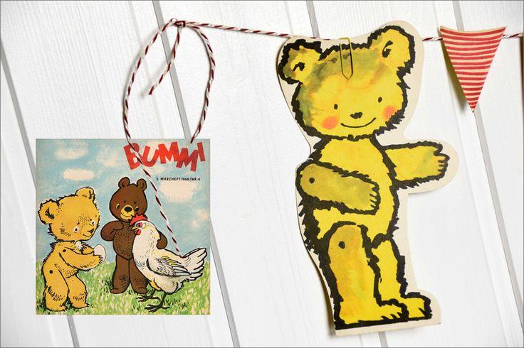 Vintage Teddys - Teddy Karte - DDR Bummi Druck- Retro Spielzeug - ein Designerstück von Trash-art bei DaWanda