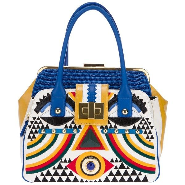 BRACCIALINI multi-coloured geometric tote (1,490 BAM) ❤ liked on Polyvore featuring bags, handbags, tote bags, totes, сумки, zip tote, man bag, leather zip tote, leather handbag tote and leather man bags