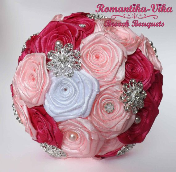 Brooch Bouquet. White and Pink wedding brooch by RomantikaVika