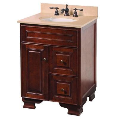 Photo Of Vanity in Walnut with Vanity Top in Beige and Undermount Sink