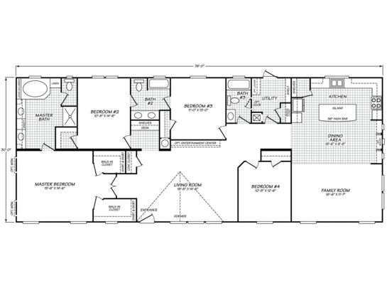 "Double-wide floor plan.  Our ""transition"" plan for while we save to build our dream home. 4 bedrooms, 3 baths, with a family room.  Lovely built-ins in the kitchen."