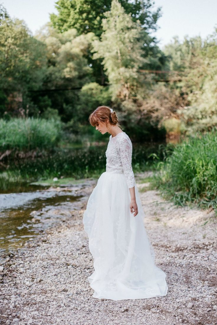 Organza overskirt for a low-key, yet romantic look.