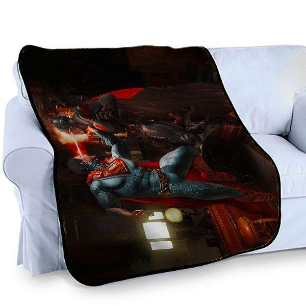 cool INJUSTICE 2 SUPERMAN VS BATMAN PS4 GAME Printed Photo Throw Bed Fleece Blanket