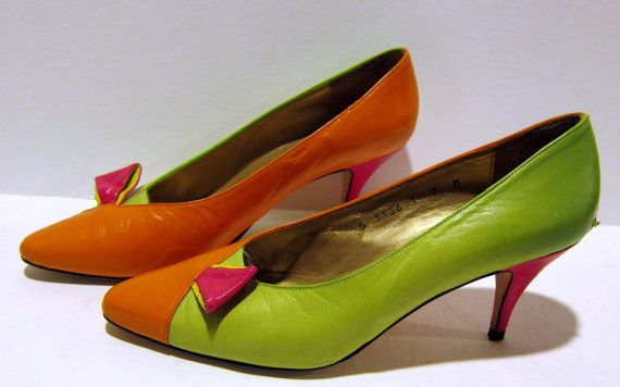 Vintage 1980s Pumps by Norma B / 80s Color Block by BasyaBerkman, $28.001980S Pump, 80S Colors, Vintage 1980S