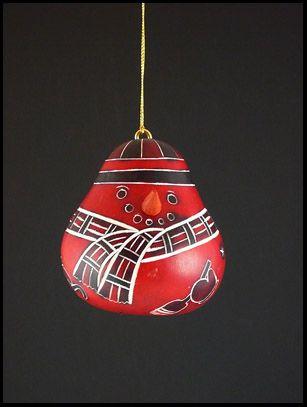 Snowman Gourd Ornament - Red